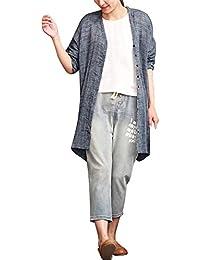 5824629b5c5d OSYARD Damen BöHmischen Mäntel, Frauen BöHmischen Mantel Casual Solid Shirt  Langarm Top Baumwolle Leinen Bluse