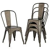 Yaheetech 4 x Chaise de Salle à Manger Industriel Extérieur Tabouret de Cuisine Vintage en Fer/métal Empilable Assise 36 x 36,5 x 45 cm Antirouille