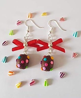 boucles d'oreilles oeufs de paques,cadeau paques,oeufs de paques,noeud satin,oeuf chocolat,pois,multicolore,rigolo,cadeau original paques