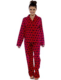 CityComfort Ladies Comfy Pyjamas Women Soft Fleece Lounge Wear   Embroidered Traditional Brushed Pjs with Long Sleeve   Perfect Present for Women