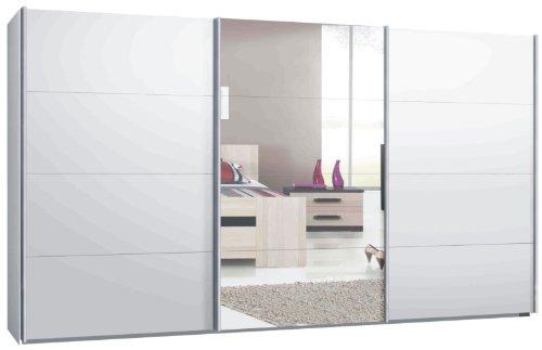 Switch Schwebetürenschrank Kleiderschrank in versch. Größen, 2- oder 3-Türig Korpus Weiß matt, Front: Spiegel und Weiß matt (400 cm)