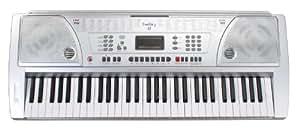 Funkey 61 Keyboard Silber (61 Tasten, 100 Klangfarben, 100 Rhythmen, 8 Demo Songs, Netzteil, Notenständer)