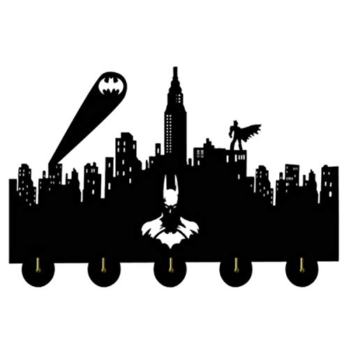 IHOOKS Fledermaus Held Design Holz Wandhaken Wandhaken Wandgarderobe Kreative Dekoration Haken Persönlichkeit Kleiderhaken Retro Schlüsselhalter 5 Haken Batman Print(2)-30 cm
