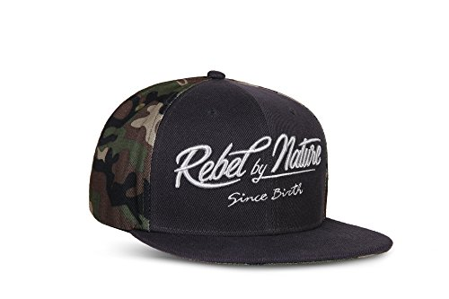 RebelByNature RC2 - Snapback Cap Font Mütze Unisex Kappe Hat Sport Baseball 100% Acryl - Collection No1-6Panel ORIGINAL RebelTM - Army-Green (Camouflage) -