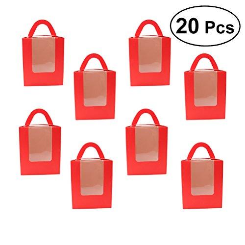 BESTONZON 20 Stücke Single Cupcake Boxen mit Fenstereinsatz und Griff für Hochzeitsfestbevorzugung Dekoration (Rot) (Cupcake-container Single)