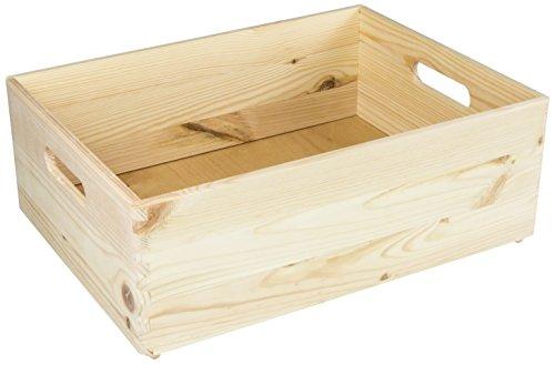 LAUBLUST - Holzkiste zur Aufbewahrung in Größe L - Kiefer Unbehandelt ca. 40 x 30 x 14 cm - Massivholz FSC Zertifiziert