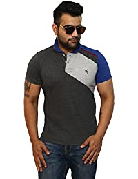 Yross Cut 'N' Sew Men's Poly Cotton Dark Grey Polo T-Shirt