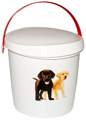 """Futterdose / Futterbox - """" süßer Hund """" - für Tierfutter - Hundefutter - 2 Liter - Vorratsdose / Aufbewahrungsbox - aus Kunststoff / Dose - Kiste mit Deckel und Tragegriff - Box & Kiste - Haustiere - Hunde Welpen - Tierfutterdose - Trockenfutter / Behälter - Plastikdose - Aufbewahrung - Hundespielzeug"""