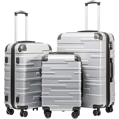 COOLIFE Hartschalen-Koffer Rollkoffer Reisekoffer Vergrößerbares Gepäck (Nur Großer Koffer Erweiterbar) ABS Material mit TSA-Schloss und 4 Rollen(Silber,...