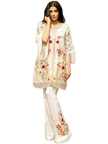 Shoppingover Designer Latest Indian Pakistani embroidered Salwar Kameez with Dupatta-White Color