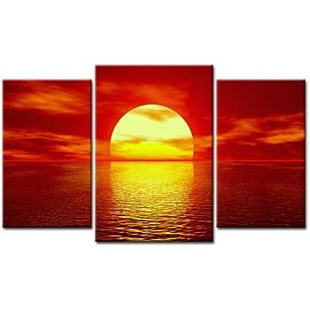 Amazon.de: Bild auf Leinwand Sonnenuntergang 3Teile Art-Nr