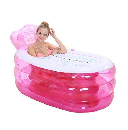 Pink Oval Portable Folding Inflatable Bathtub Adult Comfort Baignoire Baignoire Ménage Enfant Gonflable Bain Salle de Bain Spa (Taille : M)