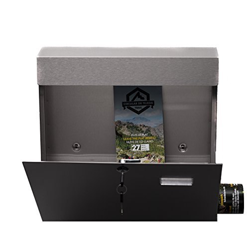 Design Doppel Briefkastenständer SET (Ständer und 2 Briefkästen mit Zeitungsfach ) Edelstahl 120 cm hoch in Silber.HPB38254 + HPB933, Briefkastenanlage Rostfrei - 3