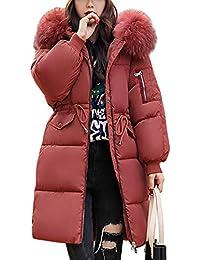 Damen Warm Winterjacke Mit Fellkapuze Parka Lange Jacke Mantel Daunenmantel  Steppjacke Reißverschluss Wintermantel 02a99fe9b5