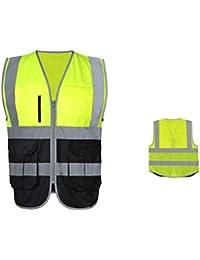 Deylaying Visibilidad Seguridad reflexivo Raya La seguridad Chaleco Multi Bolsillos Trabajo Uniformes