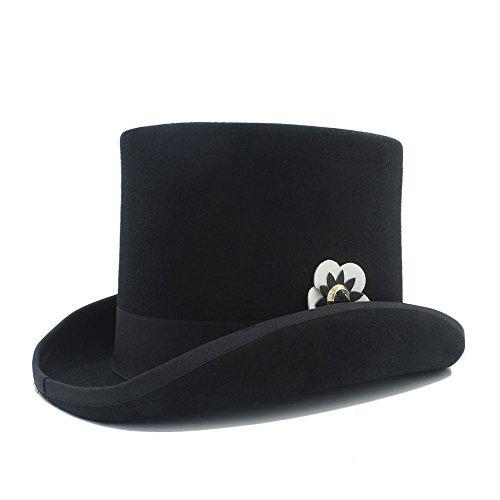 SHENLIJUAN 4 Gloss Steampunk Fedora Top Hat Mit Technischem Leder Blume Für Frauen (Farbe : 1, Größe : 61 cm) -
