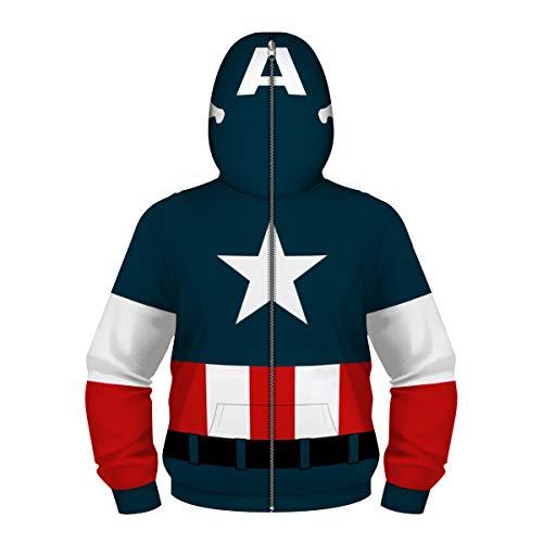 i pass Jungen Jugend Teen Full-Zip Up Hoodies Kostüm Cosplay 3D Jacken Pullover (M (8-10 Jahre), D)