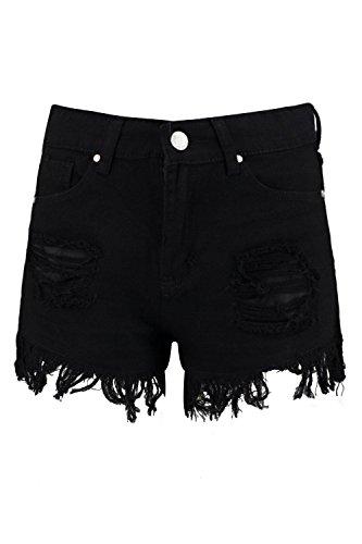 Damen Schwarz Eve Mom-shorts Mit Hohem Bund Und Extrem Ausgefranstem Saum Schwarz