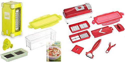 Nicer Dicer Genius Magic Cube Gourmet 7 TLG Smart 9 TLG. Rot | für feine Schnitte | Multischneider | Gemüsehobel | Obst- und Gemüseschneider | Zwiebelschneider | Reibe | Messereinsatz