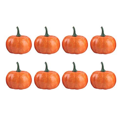 Amosfun 8 stücke Künstliche Kürbisse für Halloween, Herbst und Thanksgiving Dekorieren, Simulation Schaum Kürbis Lebensechte Kürbisse Tisch Requisiten Party Supplie Durchmesser 5,5 cm (Halloween-spiele Für Eine Herbst-festival)