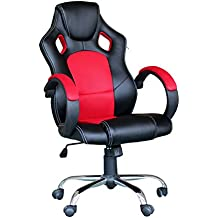 Silla Gaming Ejecutiva Giratoria Altura ajustable Oficina Escritorio con Diseño ergonómico Respaldo alto Inclinable Reposabrazos Tapizado PU y malla Base cromada / Rojo