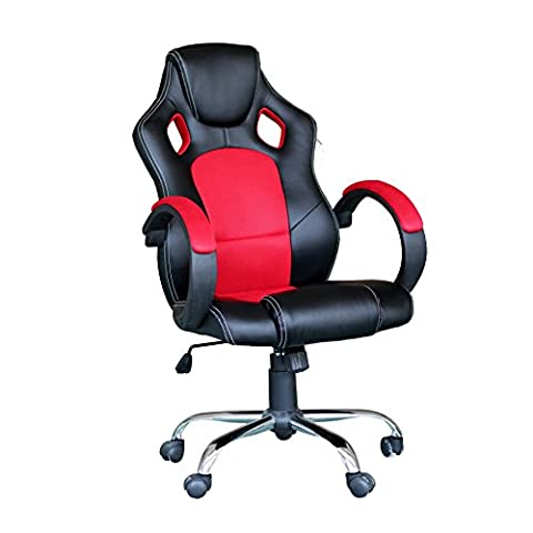 EBS Racing Gaming Chaise de bureau pivotante ergonomique dossier haut style baquet en cuir PU et Base Chrome Rouge