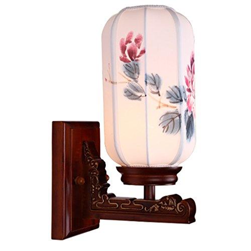 XuQinQin Wandleuchte Moderne Antike Chinesische Massivholz Geschnitzte Hand bemalt Lampenschirm Wohnzimmer Single-headed Wandleuchte \ - Hand Geschnitzt Antik