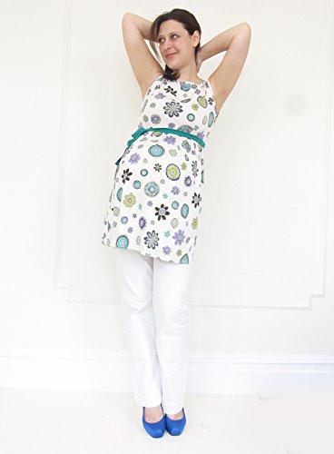 Haut de grossesse, maternité Tunique sans manches, coton maternité Femme Mia, Maternité, Grossesse Porter, convient pour la grossesse et au-delà floral dots, purple belt S floral dots, green belt