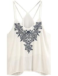 Tefamore Camisetas sin mangas Chaleco Mujer Blusa Top de tirantes bordados de Cami Flor de la Tapa Del Tanque