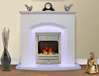 White Flat Wall 2KW Electric Fire Surround Set Complete Fireplace with LED Light- with Brushed Steel Fire
