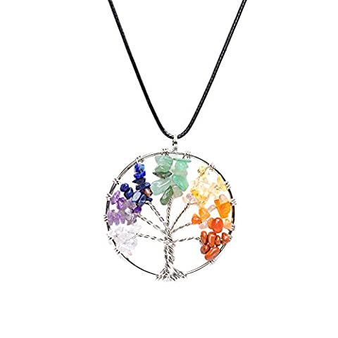 Celtic Chakra Tree of Life Healing Crystal Necklace Pendant Wire Wrapped Reiki Jewellery