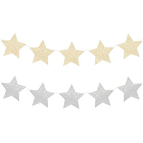 Schicke funkelnde und glitzernde Sternen-Girlande in Gold und Silber