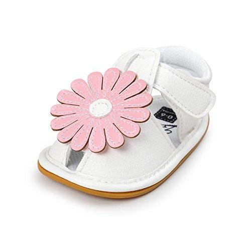 Itaar Baby Blumen Sandalen Lauflernschuhe Babyschuhe Sommer PU LDer mit weicher rutschfester Sohle für Mädchen Babys 3-18 Monate (12-18 Monate, Rosa)