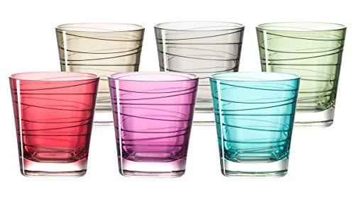 Leonardo Vario Struttura Becher klein farbig sortiert, 6-er Set, 250 ml, Kristall-Glas mit Colori-Hydroglasur, 047286 Soft-drink-glas