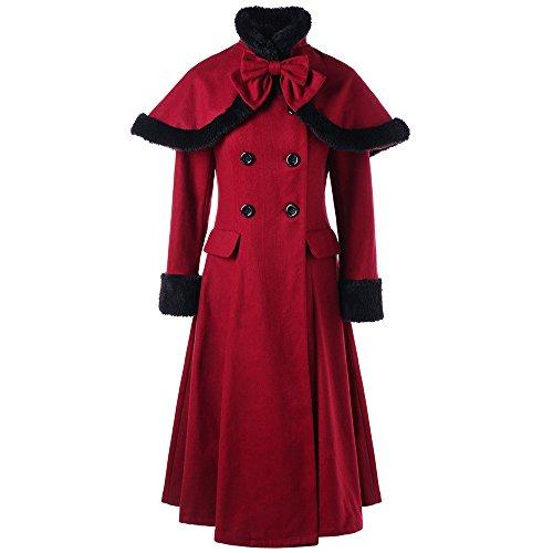 Lenfesh Damen Vintage Zweireiher Asymmetrisch Hoodies Lange Parka Mantel Jacke Outwear (Rot 1, ()