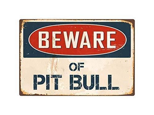 Froy Beware Pit Bull for Eisen-Plakat-Malerei-Plaketten-Metallweinlese-Dekorations-Handwerk für Café-Bar-Garagen-Haus -