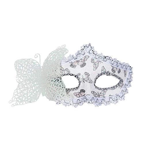 SCLMJ Mode Ball Schmetterling Maske Für Frauen Masquerade Dancing Party Schöne Halbe Gesichtsmaske, Weiß