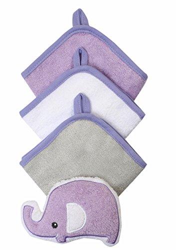 Baby-Waschlappen mit Schwamm - Set 3-teilig aud Velour 100% Baumwolle 7311 (Lila / Elefant) Baby Velours-set