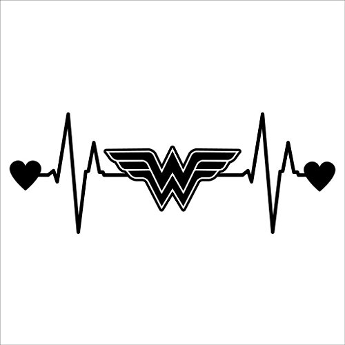 SUPERSTICKI® Wonder Woman Heartbeat Aufkleber Decal Hintergrund/Maße in inch Vinyl Sticker|Cars Trucks Vans Walls Laptop| Black |6.5 x 2.5 in|CCI1466