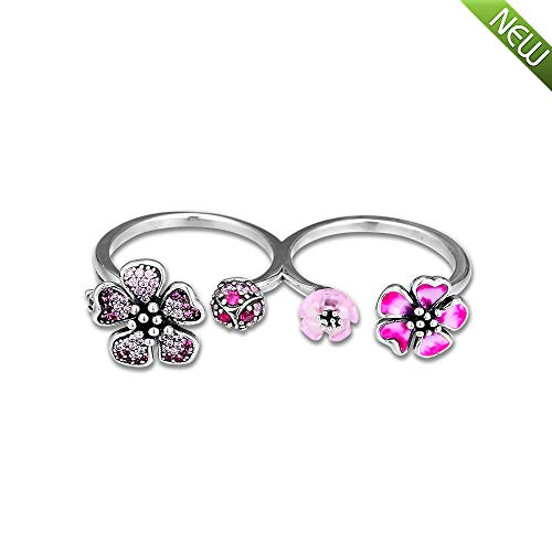 PANDOCCI 2019 Sommer pfirsichblüte Blumen doppel Ringe für Frauen 925 Silber DIY passt für original Pandora armbänder Charme modeschmuck (52#)
