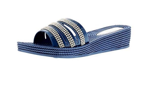 7241b2075 Linzi Ladies Womens Mule Black Navy White Sandal Joy Summer Spring Navy -  UK Sizes 3-8