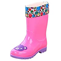 La Vogue Unisex Childrens Cartoon Rain Boots Waterproof Detachable Fleece Lining Rainboots Non Slip Wellington Rain Boots