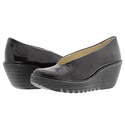 Fly London Womens Yaz Patent Wedge Leather Shoes Black Patent