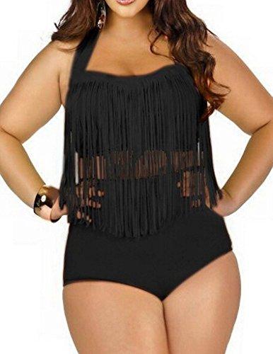 Retro Sexy Frauen hohe Taille Geflochtene Neckholder Bademode Badeanzug  Zwei Stück Halfter Bademode Bikini Schwarz