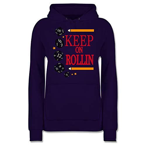 Shirtracer Nerds & Geeks - Keep on Rollin Würfel - L - Lila - JH001F - Damen Hoodie (Würfel Lila Flauschige)