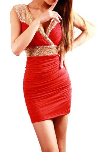 """Waooh - Fashion - Short clubwear Kleid mit Herz Hals gewickelt und Pailletten """"Kia"""" - Onesize Rot"""