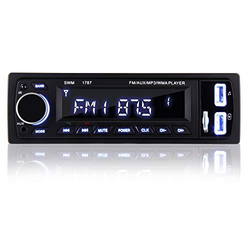 COOAU Autoradio Bluetooth, FM Radio de Coche Manos Libres Radio Estéreo de Coche, Llamadas Manos Libres, Apoyo de Reproductor MP3 con Control Remoto, Función de USB, SD, AUX
