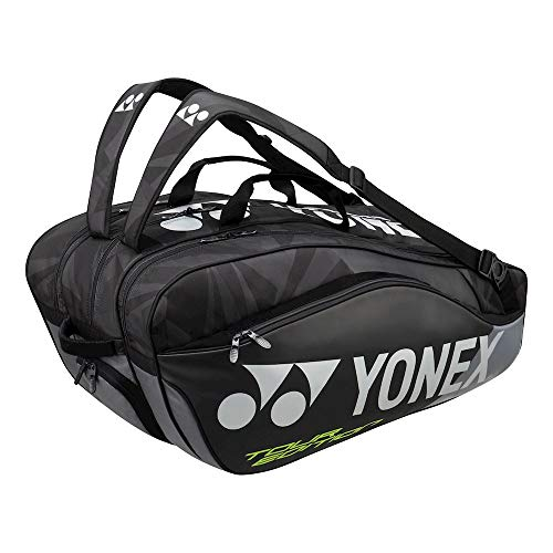 Yonex Thermobag 9829 Schlägertasche mit 3 Hauptfächern für Badminton, Tennis und Squash (schwarz)