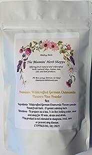Wildcrafted German Chamomile Flowers Dried Powder | 4oz | USA | Tea | Fine Powder Aromatic Potent | The Bloomi