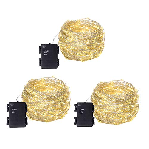 Filo di rame luci LED luci stellate 120 LED 12 m per giardino, patio, feste, matrimoni, decorazioni natalizie, confezione da 3